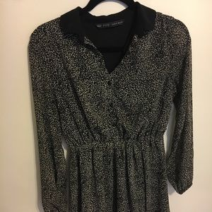 Zara Basic Animal Print Long Sleeve Dress